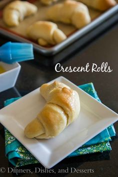 Crescent Rolls from Dinners, Dishes, and Deserts.  This is a good all-around yeast roll recipe that can be shaped not only into crescent rolls, but any shape you desire.