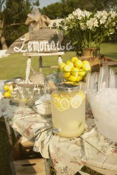 For the lemonade bar, I like the bowl of lemons for looks and the slices of lemons in the lemonade. I wonder if Mom has a washed out tablecloth like this one. We'll have washtubs in front, but we'll want an extra tub with ice and the plastic cups. I think Mom and Dad have a metal pot like the flowers in the back.