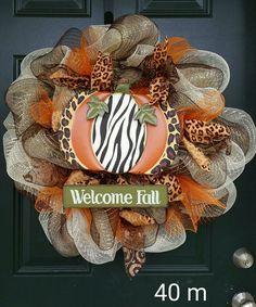 Deco mesh fall wreath ivory brown orange welcome fall pumpkin leopard print  #40
