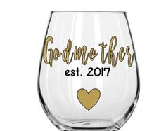Godmother Wine Glass- Will you be the Godmother glass- Baby Reveal Glass- Godmother Gift-Baptism Gift- New Godmother Gift- Fairy Godmother