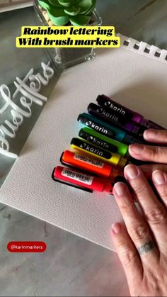 Bullet Journal Writing, Bullet Journal Ideas Pages, Rainbow Photography, Brush Markers, Cute Little Drawings, Hand Lettering Fonts, Rainbow Crafts, Air Brush Painting, Sketch Inspiration