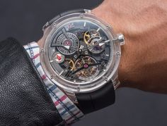 """Grebuel Forsey Double Tourbillon Technique Sapphire Watch Hands-On - by David Bredan - see the full hands-on photo gallery & learn all about it on aBlogtoWatch.com """"Joining the sapphire-cased transparence craze today is the Grebuel Forsey Double Tourbillon Technique Sapphire, a limited run of just 8 pieces which wrap one of the master watchmaker duo's most impressive calibers into a sapphire sandwich..."""""""