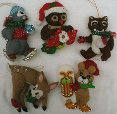 5 Vintage Handmade Felt Deer Squirrel Owl Bear Raccoon Animal Ornament Lot | eBay