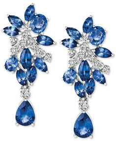 Le Vian® Precious Collection Sapphire (5-1/5 ct. t.w.) and Diamond (3/8 ct. t.w.) Drop Earrings in 14k White Gold, Only at Macy's | macys.com