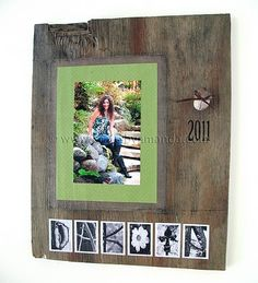 Personalized frame with pictures and name on barn wood.