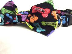 Dog collar-bright colored bones collar-bow by DazzleDoggieDesigns
