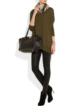 Gucci|Loose-fit wool, silk and cashmere-blend sweater, Paige jeans, Gianvito Rossi boots, and Valentino bag.