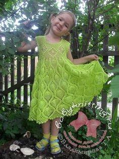 Sarafan for girls 3 - 4 years crocheting.  Pineapple + fileyka.  |  Knit for the little ones!  Knitting Blog Tatyana Vladimirova.