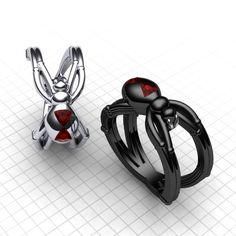 Avenger Black Widow Ring, Silver Spider Ring, Red and Black Widows Band, Red and Silver Widow Spider Jewelry Superhero Ring Avenger Jewelry