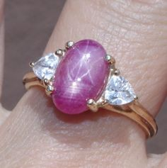 10K-4-3-CTW-MAGICAL-PIGEON-RED-MOKOK-DOUBLE-STAR-RUBY-PROMISE-RING-W-CZ