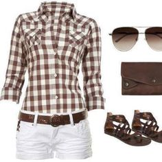 BROWN AND WHITE CHECKERED CUTE SUMMER AFTERNOON OUTFIT