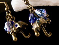 Blue Crystal Bronze Umbrella Charm Earrings by TitanicTemptations, $32.00