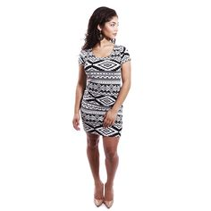 Tribal Print Slim Dress #TribalPrint #Style #Cute  #BoutiqueAfricaine $12.99