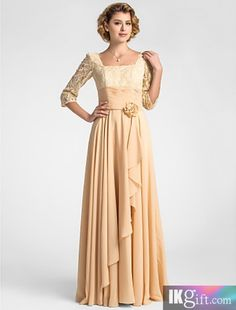 Stunning A-line Square Floor-length Lace And Chiffon Mother of the Bride Dress With A Wrap
