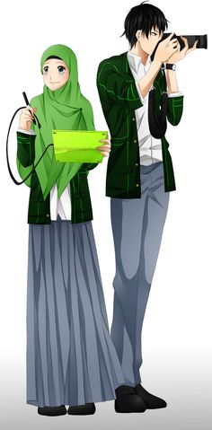 Assalamu'alaikum~ XDDD Okaaay~ This is for my school banner~ Multimedia is my course Well. Not really bad I think.) Done with: Photoshop Paint Tool SAI Wacom Bamboo Pentablet Cute Muslim Couples, Muslim Girls, Muslim Women, Cute Couples, Hijabs, Hijab Anime, Hijab Drawing, Ideal Girl, Islamic Cartoon
