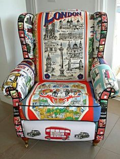 London chair - From vintage tea towels Funky Furniture, Painted Furniture, Colorful Furniture, Furniture Styles, Furniture Design, Patchwork Chair, British Things, Take A Seat, Cool Chairs