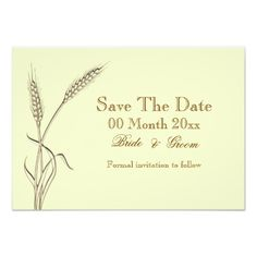 """""""Save the date"""" """"country theme"""" postcards with customizable text templates. DESIGN – A """"moccasin"""", """"scallop shell"""" and """"antique white"""" wheat stalk in soft, muted cream hues is set against an ivory background. CUSTOMIZE IT: The wording, background and font color may be changed to any of your choice, and the templates moved to any position on the invitation, by using the """"customize it"""" button. Any template not required, may be deleted and additional text and photo templates added. IDEAL FOR…"""