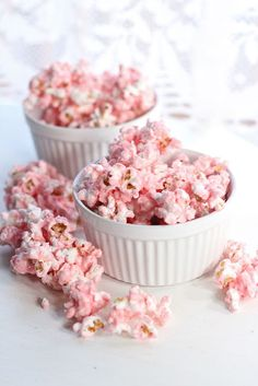 Pink - White chocolate covered popcorn!  So yummy! Perfect for Valentines Day while watching a movie at home