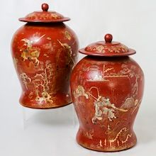 Rare pair of red Lacquer Ginger Jars from the Shanxi province in Northern China.  Visit our online showroom for this and other items.