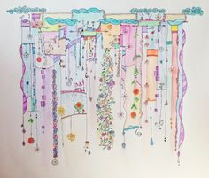 """Look at this lovely Zenspirations Dangle Design by Ginny Griffin. She calls it """"Ribbons"""". It's quite large; roughly 20""""x18"""" original pen, colored pencil and watercolor. Ginny Griffin©2014"""