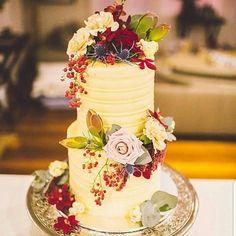 Wedding Cake: 2 tier with textured buttercream & fresh blooms. Frost, Wedding Cakes, Bloom, Bride, Desserts, Wedding Gown Cakes, Wedding Bride, Tailgate Desserts, Deserts