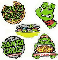 Skateboard Design, Skateboard Art, Santa Cruz Logo, Santa Cruz Tshirt, Santa Cruz Stickers, Ninja Turtle Tattoos, Vexx Art, Rick And Morty Poster, Old School Skateboards