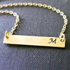 Get your unique initial monogrammed necklace here: http://www.countryoutfitter.com/products/88065-gold-bar-initial-necklace/?lhb=style&lhs=p