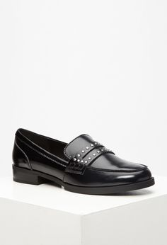 Studded Faux Leather Penny Loafers | Forever 21 - 2000095554