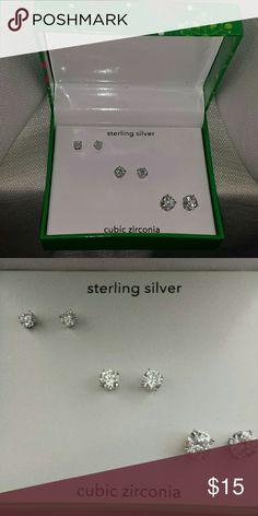 Brand New sterling silver earrings set of 3 5mm ,6mm 9mm jcpenney Jewelry Earrings