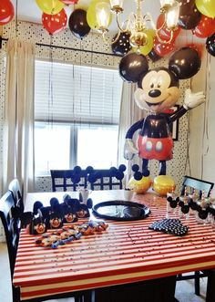 Mickey Mouse birthday party decor.