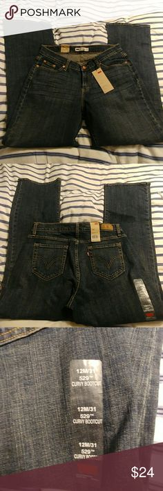 Levi's 529 curvy bootcut Size12(31) new with tags. Waist measures approx 16.5 inches across and inseam is approx 31.5 inches. Rise is approx 9 inches. Some stretch. Levi's Jeans Boot Cut