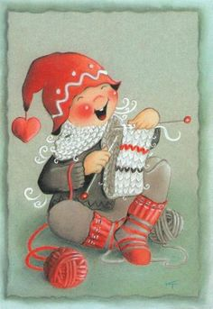 "From the ""Ilmaveivi [Michigan] series,"" of Christmas cards -- by Kaarina Toivanen, Finnish Knitting Humor, Knitting Yarn, Hand Knitting, Vintage Christmas Cards, Christmas Art, Vintage Cards, Xmas, Knit Art, Christmas Illustration"