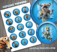 Ice Age Cupcake Toppers, Cristal and Frozen Look, High Quality, Plastic Look, Stickers, Digital Download, Birthday Decor.