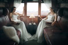 Two of our lace gowns in a stunning Chantilly Italian lace from Bertossi Brides at Paddington Weddings  www.paddingtonweddings.com.au