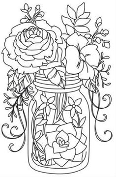 Daisies in a Jar Coloring Page embroidery patterns Pinterest