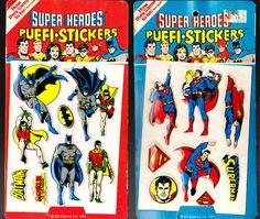 Vintage 1981 2 Lot Puffi Stickers NIP Batman Superman Super Heroes   eBay