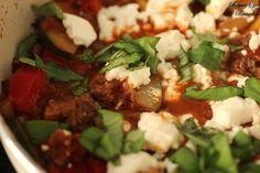 Zucchini-Hackfleischpfanne mit Feta