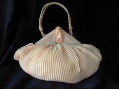 1930s Lemon Silk Chiffon Evening Purse With Carved Bakelite Clasp.