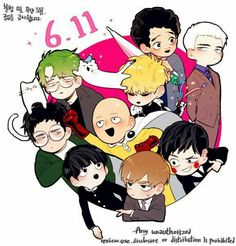 One Punch Man, Mob Psycho 100, crossover, characters, cute, chibi, funny, text, cat, neko; Anime  Please tell me the names of the missing Animes and/or characters if you know