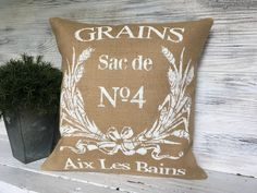 French Pillow printed in white. Burlap. https://www.etsy.com/listing/462301449/french-style-pillow-french-country?ref=shop_home_active_22