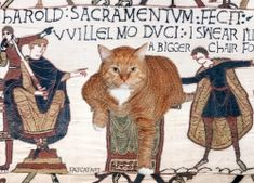 The Bayeux Tapestry, true scene, 1070 AD Fat Cats, Cats And Kittens, Fat Orange Cat, Bayeux Tapestry, Baby Painting, Spanish Art, Medieval Art, Funny Art, Crazy Cats