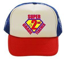 Super 2nd Grade Teacher Trucker Hat Cap red white blue