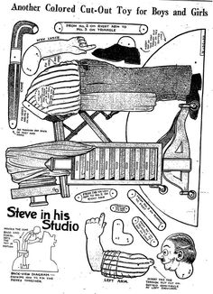 Christmas-Craft idea-Vintage Steve in his Studio Paper Toy