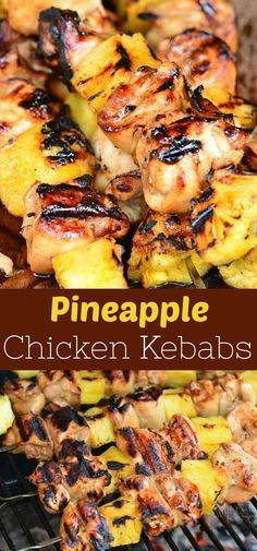 Pineapple Grilled Chicken Kebabs recipe is a delicious sweet and salty combination of marinated chicken and fresh pineapple chunks cooked on a grill chicken kebabs grilled easychicken pineapple # Griddle Recipes, Grill Sandwich, Sweet And Salty, The Best, Steak, Cooking Recipes, Healthy Grilling Recipes, Yummy Food, Favorite Recipes