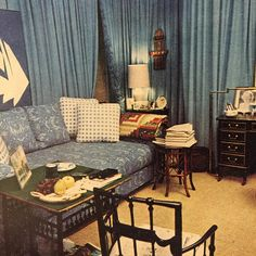 """The blue-hue dressing-room of writer & painter William P. Rayner, New York. Horst for Vogue, 1970s."""