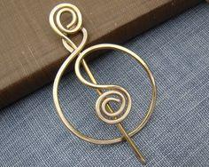 Brass Wire Spiraling Full Circle Shawl Pin, Scarf Pin, Sweater Brooch - Women's Accessory, Knitting Jewelry