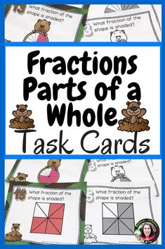 Fraction Task Cards- (Parts of a Whole) Groundhog Day's Theme **UPDATED - Real Time - Diet, Exercise, Fitness, Finance You for Healthy articles ideas Math Resources, Math Activities, 3rd Grade Fractions, Math Lessons, Math Skills, Teaching Math, Kindergarten Math, Math Groups, First Year Teachers