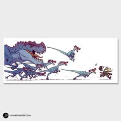 Run - Print. I love Jake Parker's work. Everything he does is amazing. #dinosaurs #dogs #war