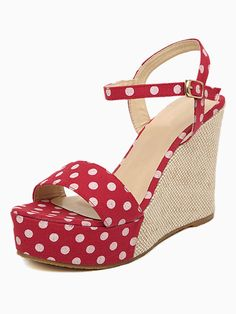 Dot Print Wedges In Red   Choies