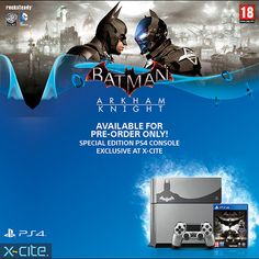 The new Batman Arkham Knight PS4 Limited Edition is now available for Pre-Order for 149.9 KD exclusively at X-cite showrooms and online!